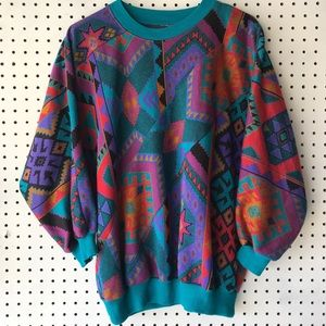 Vintage Vibrant Southwestern Sweater